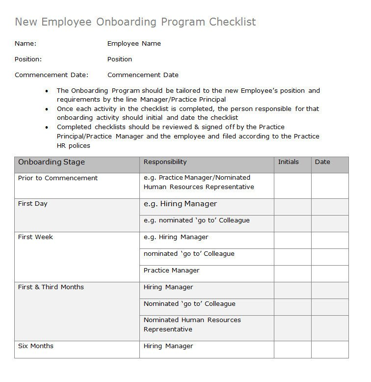 New Employee Onboarding Checklist Template Hr Advance