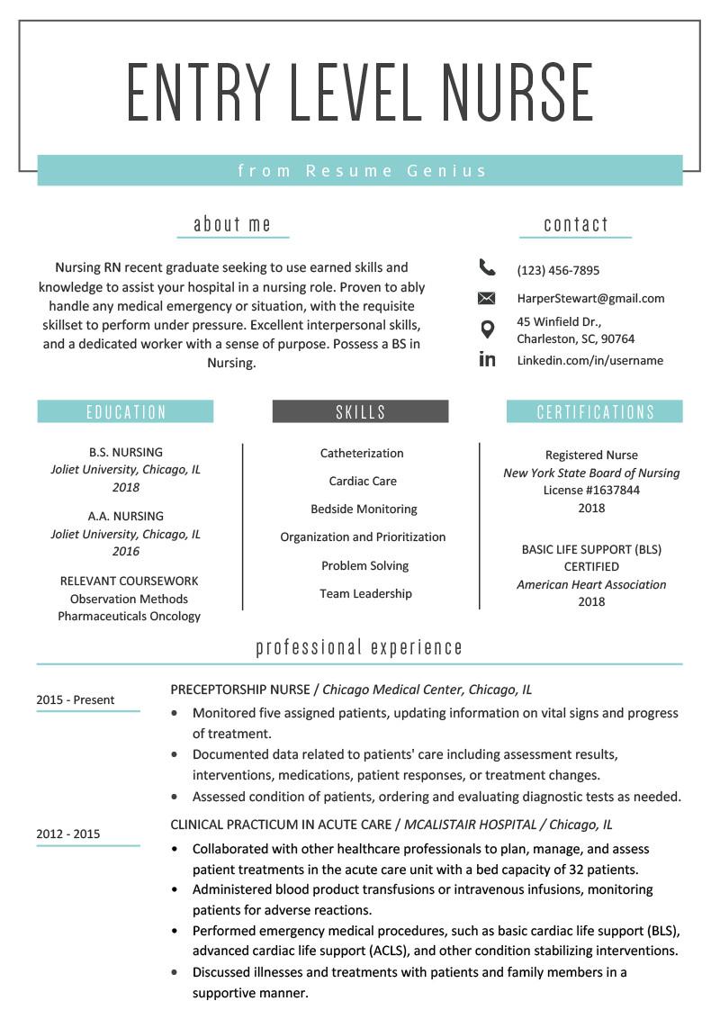 New Grad Nursing Resume Templates Entry Level Nurse Resume Sample