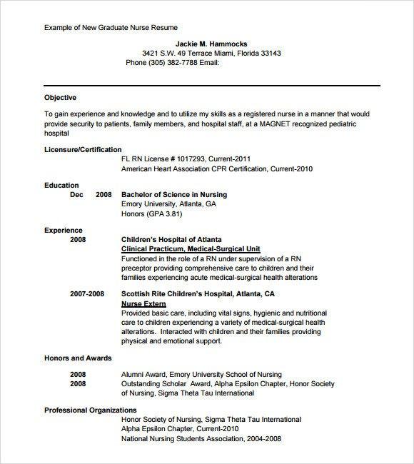 New Grad Nursing Resume Templates Sample Nursing Resume 8 Download Free Documents In Pdf
