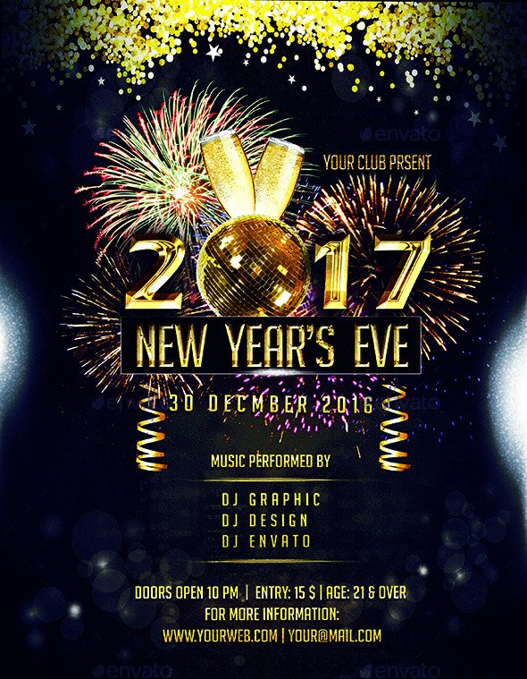 New Year Eve Flyer 2017 New Year Eve Party Flyer by Luckyinspiron