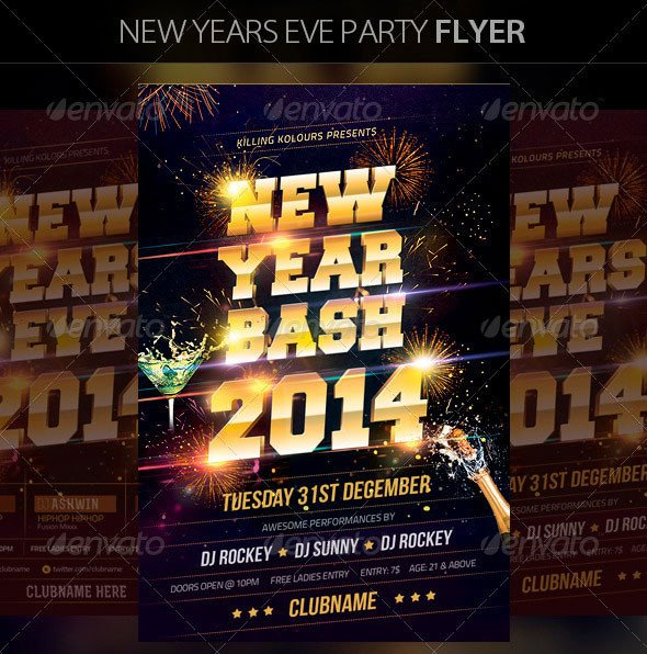 New Year Eve Flyer 30 Christmas Holiday Psd & Ai Flyer Templates