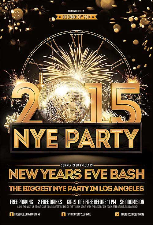 New Year Eve Flyer Freepsdflyer