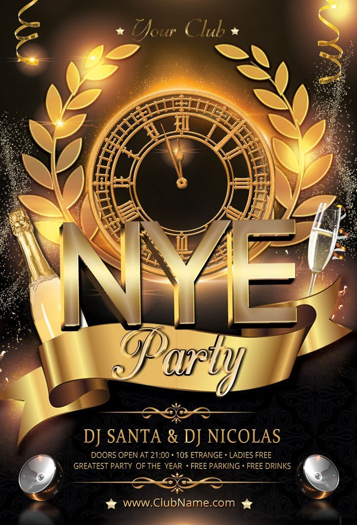 New Year Eve Flyer New Year Party Flyer Flyer Templates Creative Market