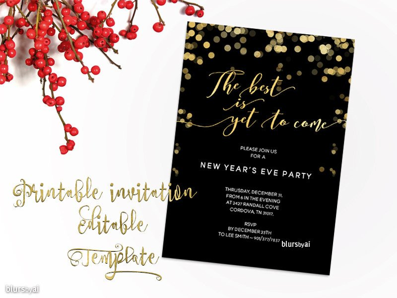 New Year Party Invitation Template Printable New Year Party Invitation Template New Year S