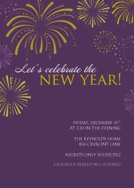 New Year Party Invitation Template Printable Purple Fireworks New Years Party Invitation Template