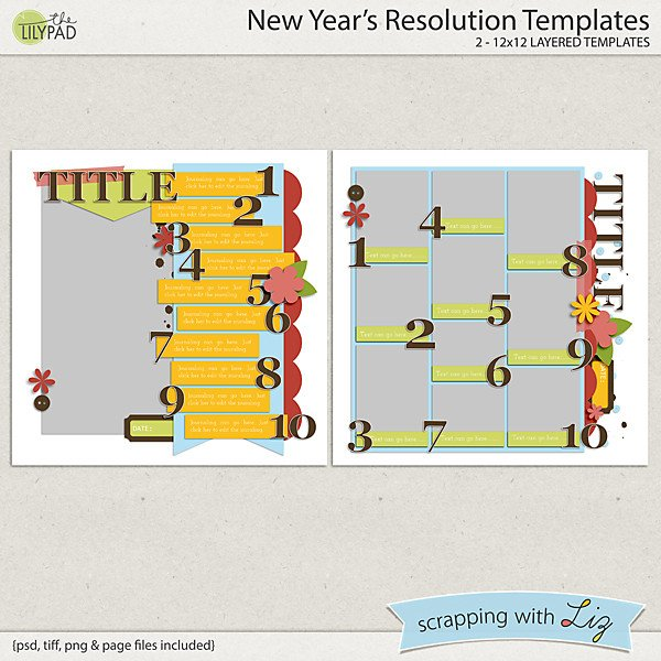 New Years Resolution Template Digital Scrapbook Template New Years Resolutions