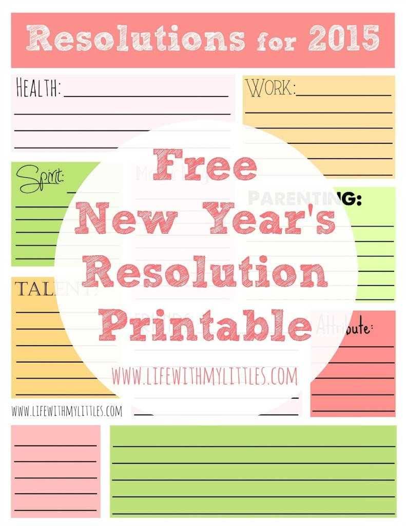 New Years Resolution Template Free New Year S Resolution Printable Life with My Littles