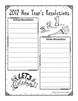 New Years Resolution Template Graphic organizers New Year S Resolutions and Resolutions
