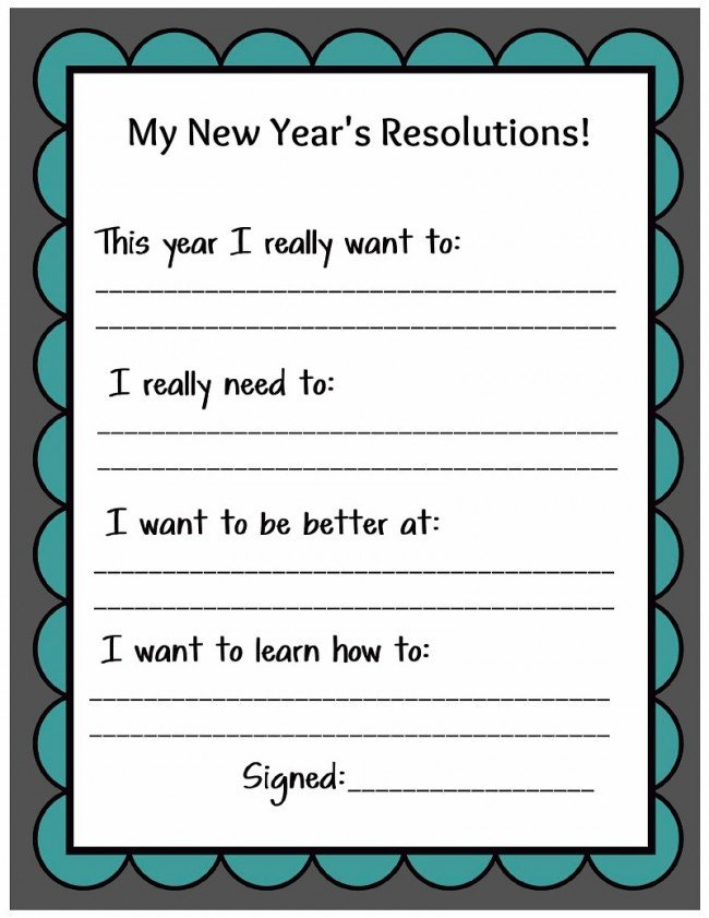 New Years Resolution Template Kid Friendly New Year S Resolution Printable
