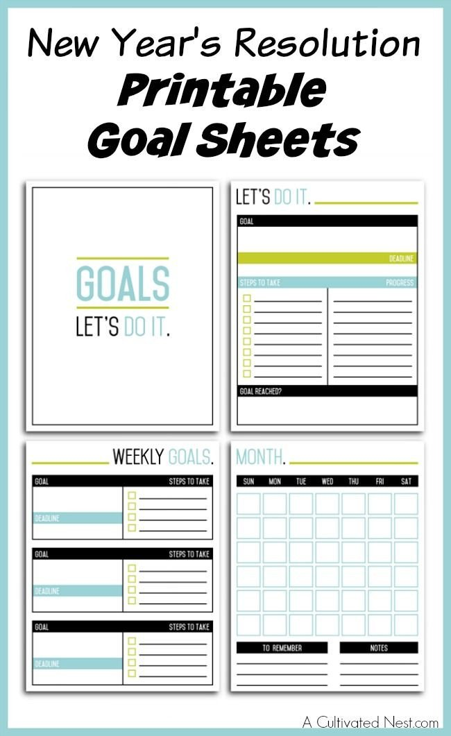 New Years Resolution Template New Year S Resolution Printable Goal Sheets