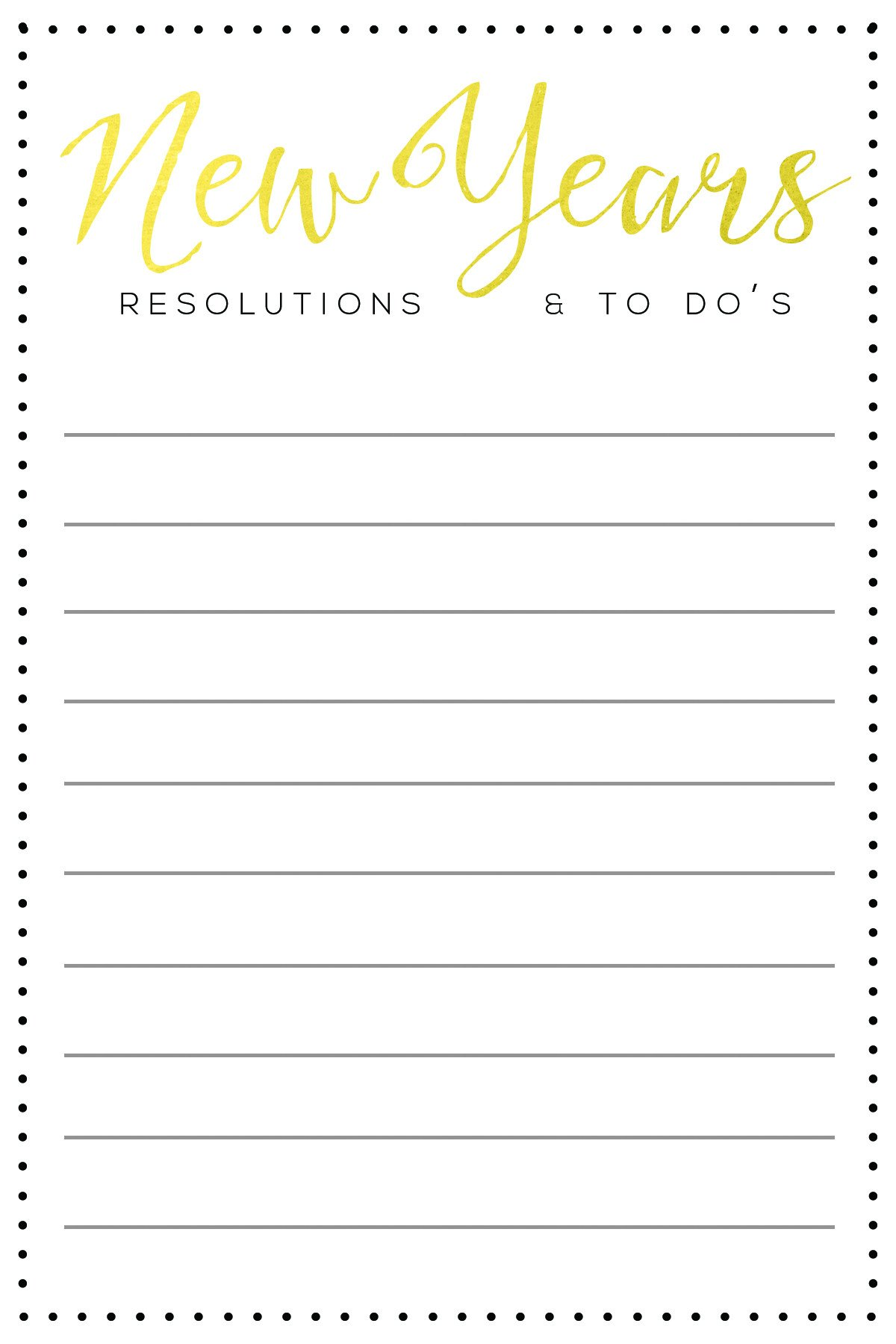New Years Resolution Template New Year S Resolutions