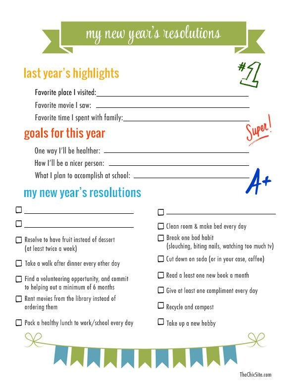 New Years Resolution Template New Year S Resolutions to Do with the Kids