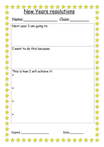 New Years Resolution Template New Years Resolution and Action Plan Worksheet by Miss