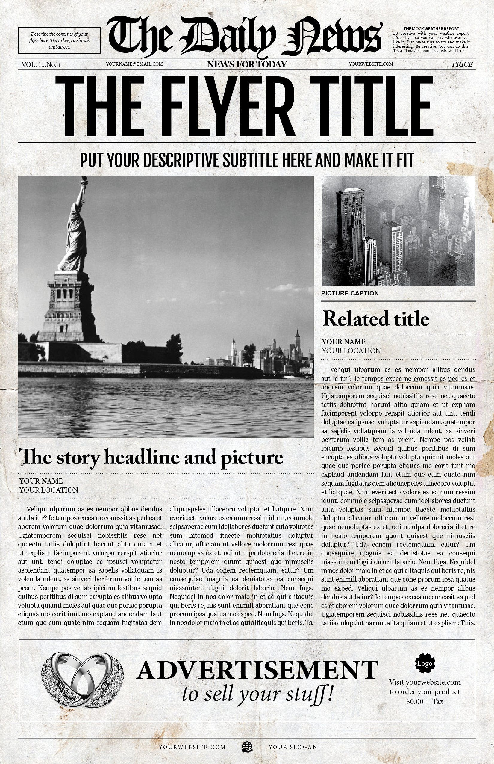 New York Times Newspaper Template Google Docs 2x1 Page Newspaper Template Adobe Indesign 8 5x11 & 11x17