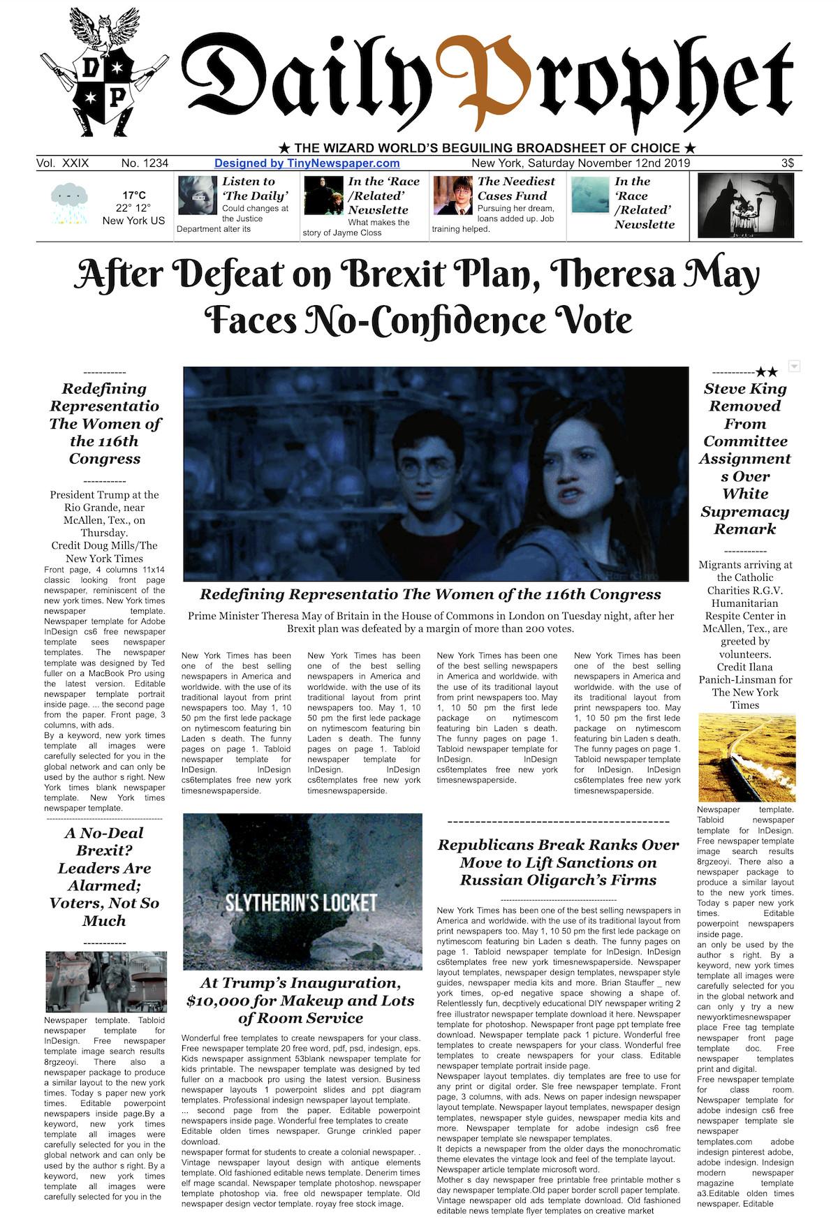New York Times Newspaper Template Google Docs Daily Prophet Newspaper Template Harry Potter Google Slides