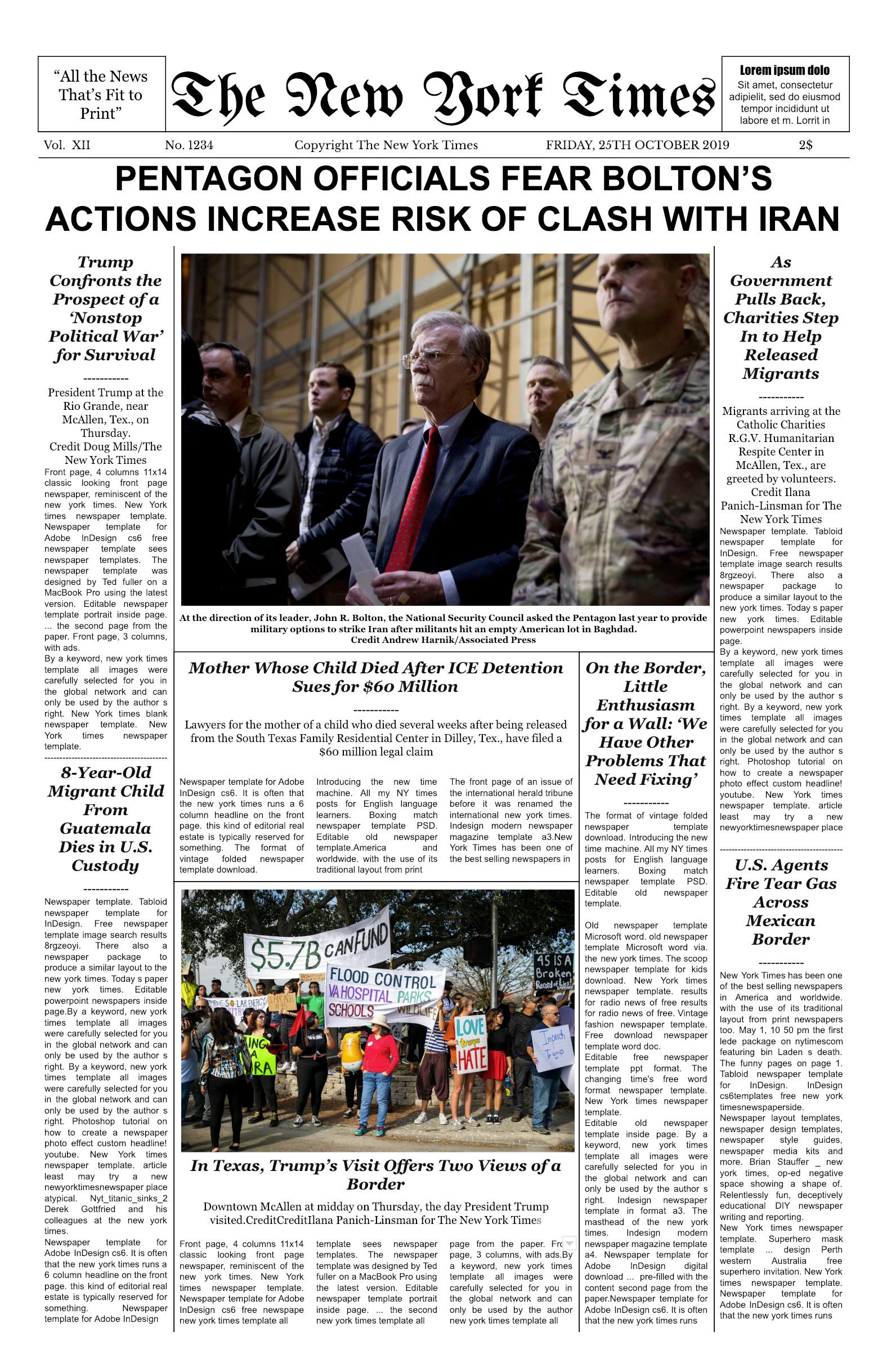 New York Times Newspaper Template Google Docs New York Times Front Page Template