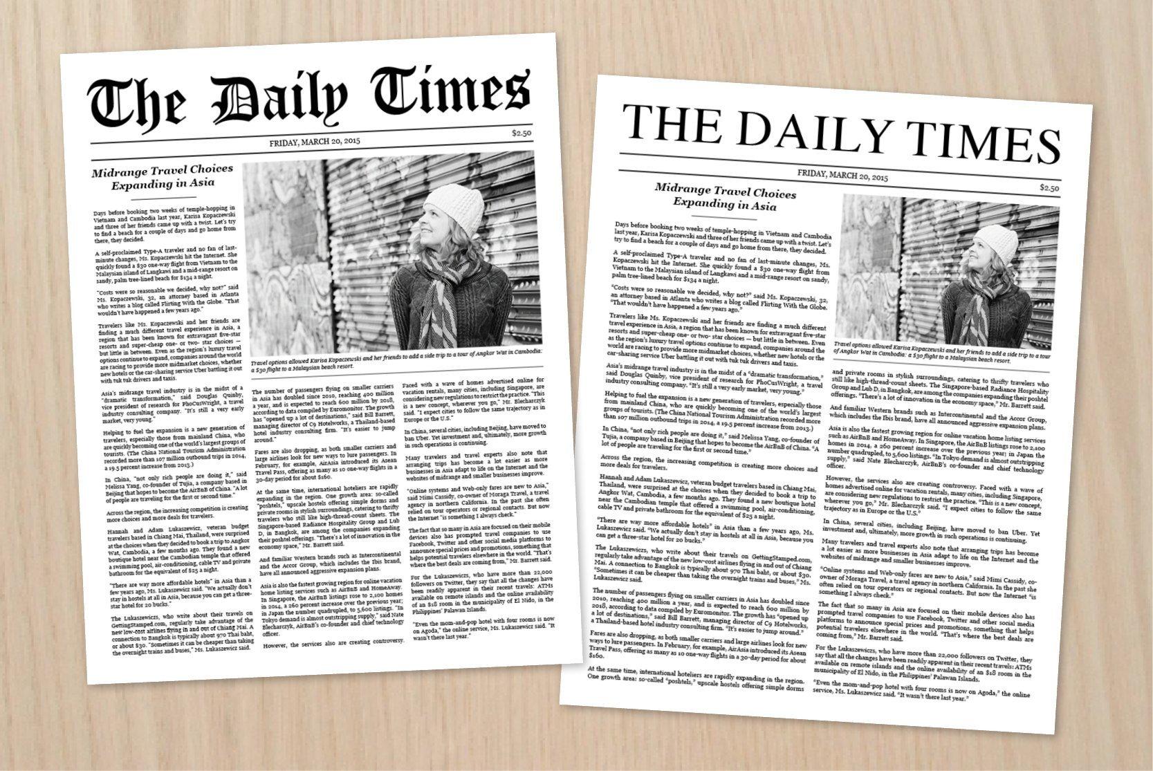 New York Times Newspaper Template Google Docs Newspaper Article Template Stationery Templates