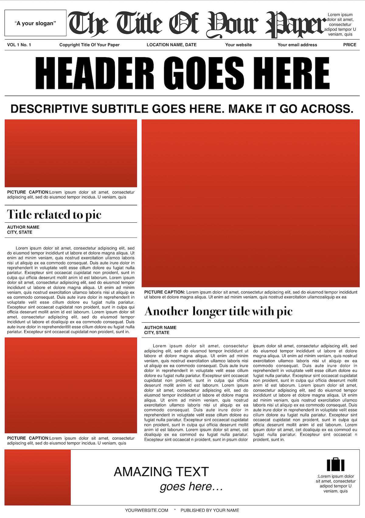 New York Times Newspaper Template Google Docs Newspaper Template Design Mockup