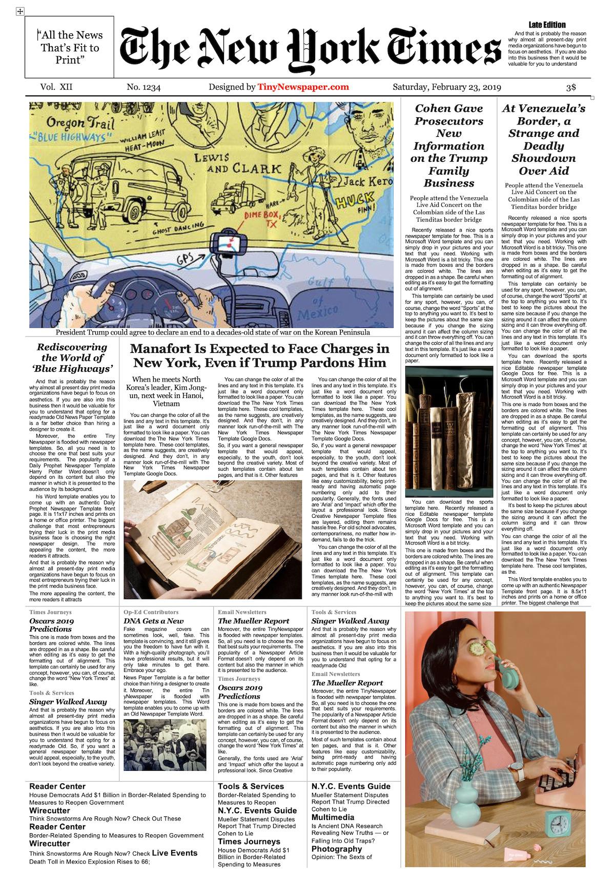 New York Times Newspaper Template Google Docs Newspaper Template Google Docs
