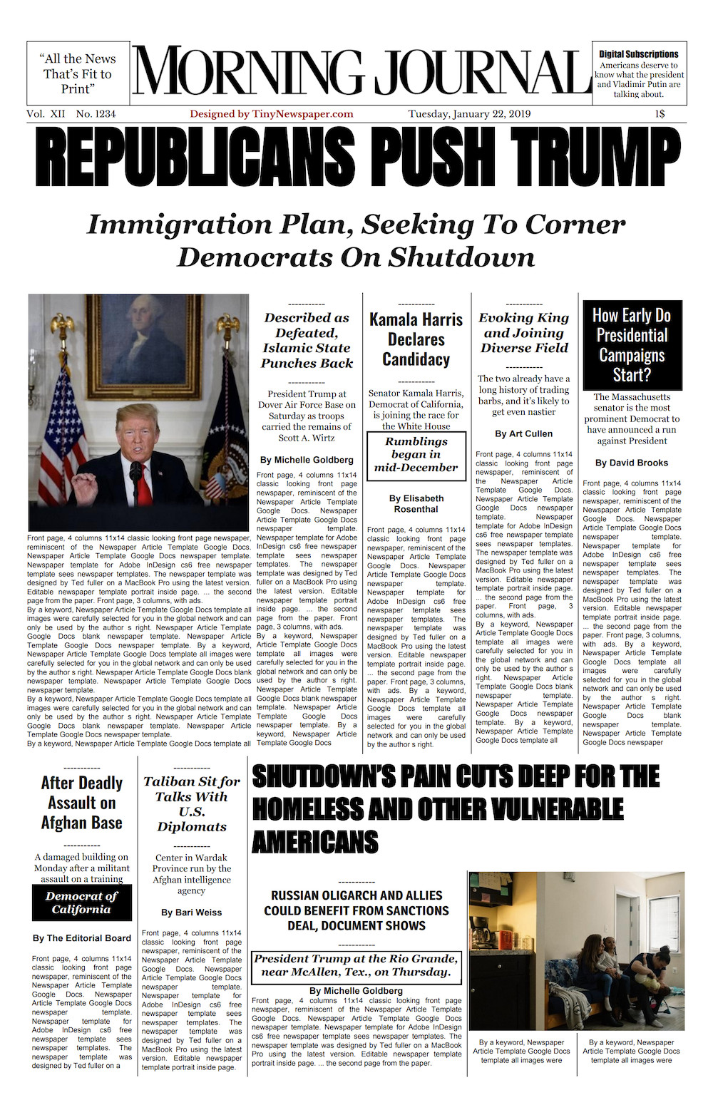 New York Times Template New York Times Front Page Template