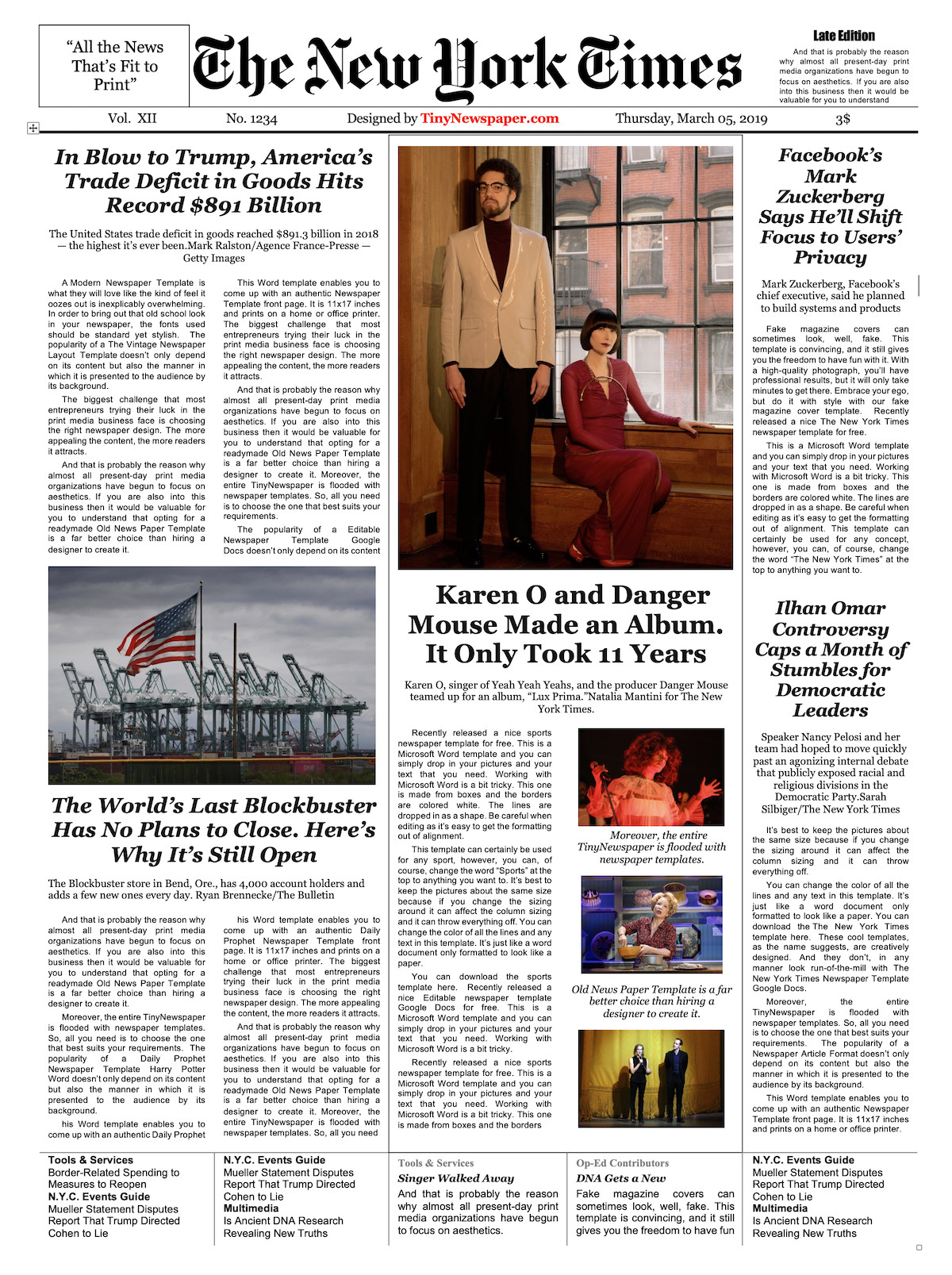 New York Times Template Newspaper Layout Template