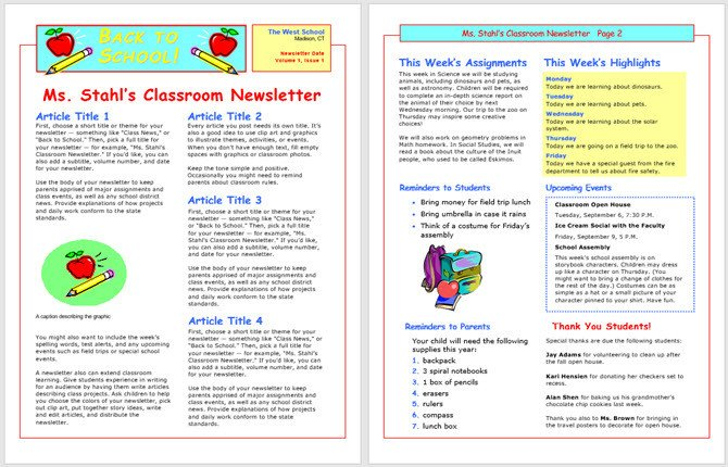 Newsletter Sample for School 13 Free Newsletter Templates You Can Print or Email as Pdf