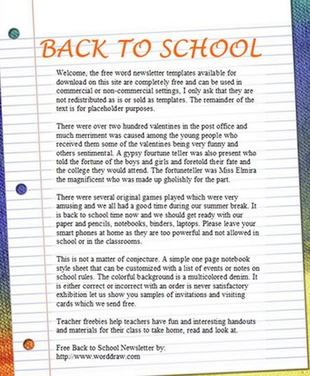 Newsletter Sample for School 15 Free Microsoft Word Newsletter Templates for Teachers