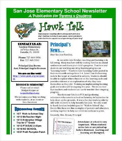 Newsletter Sample for School 20 Best Newsletter formats Free Word Pdf Documents