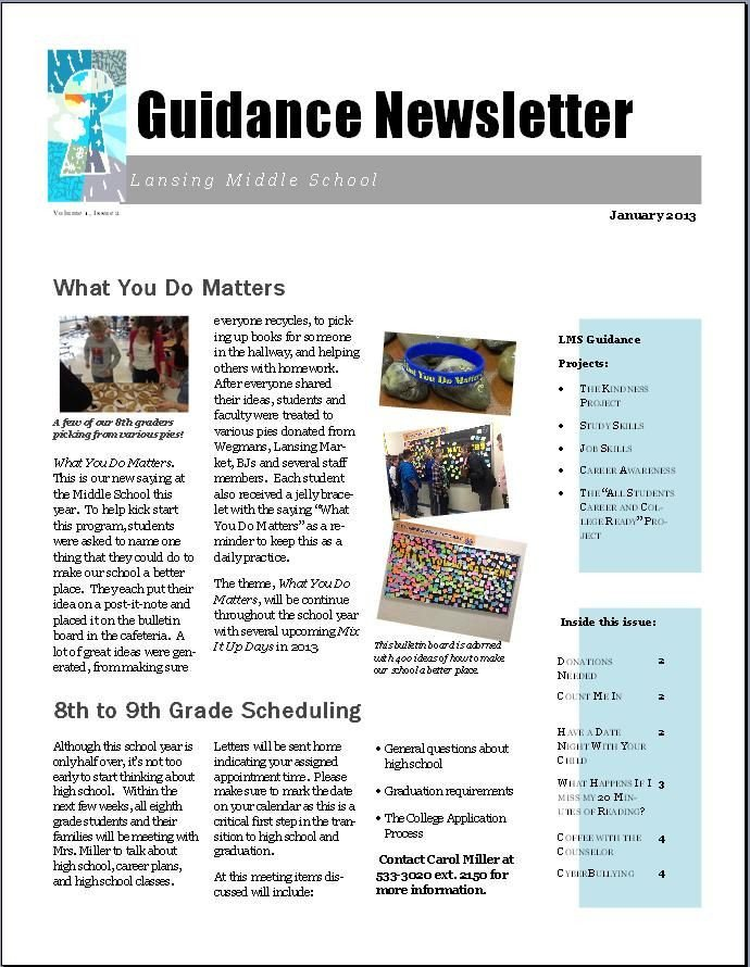 Newsletter Sample for School 22 Best Promoting Your School Counseling Program Images On