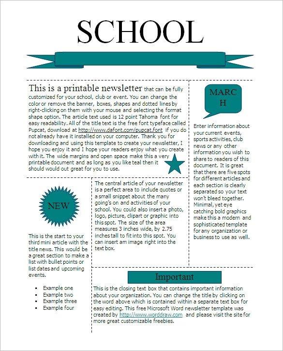 Newsletter Sample for School 27 Microsoft Newsletter Templates Doc Pdf Psd Ai