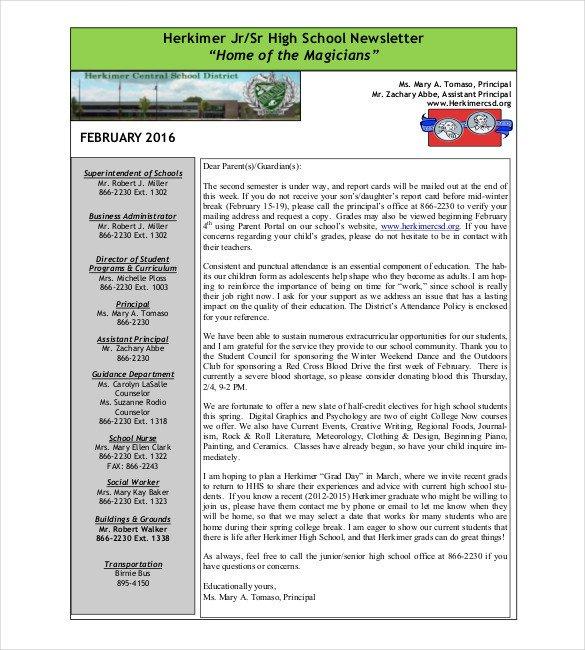 Newsletter Sample for School 7 School Newsletter Templates Free Sample Example