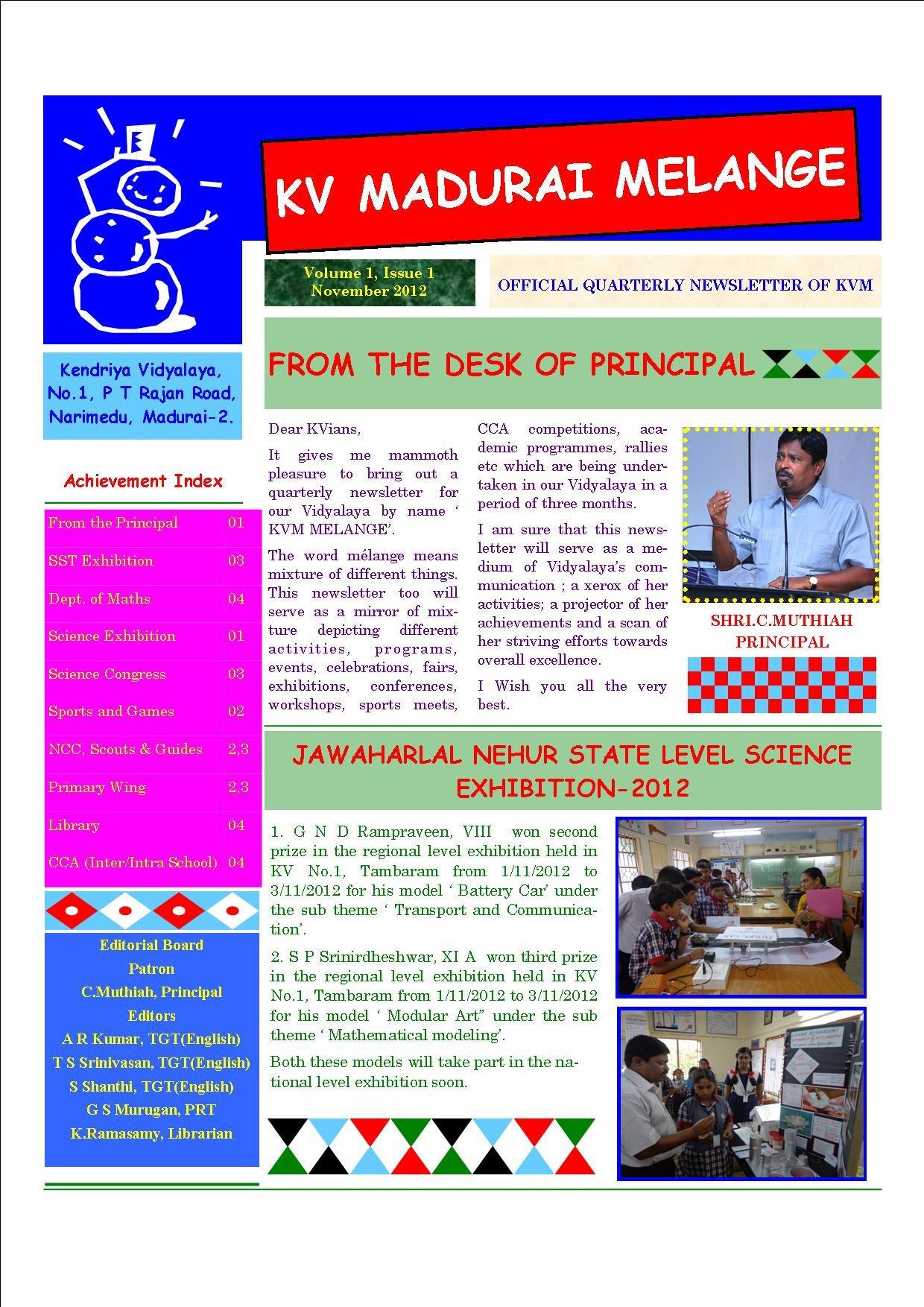 Newsletter Sample for School Kvm Melange – School Newsletter