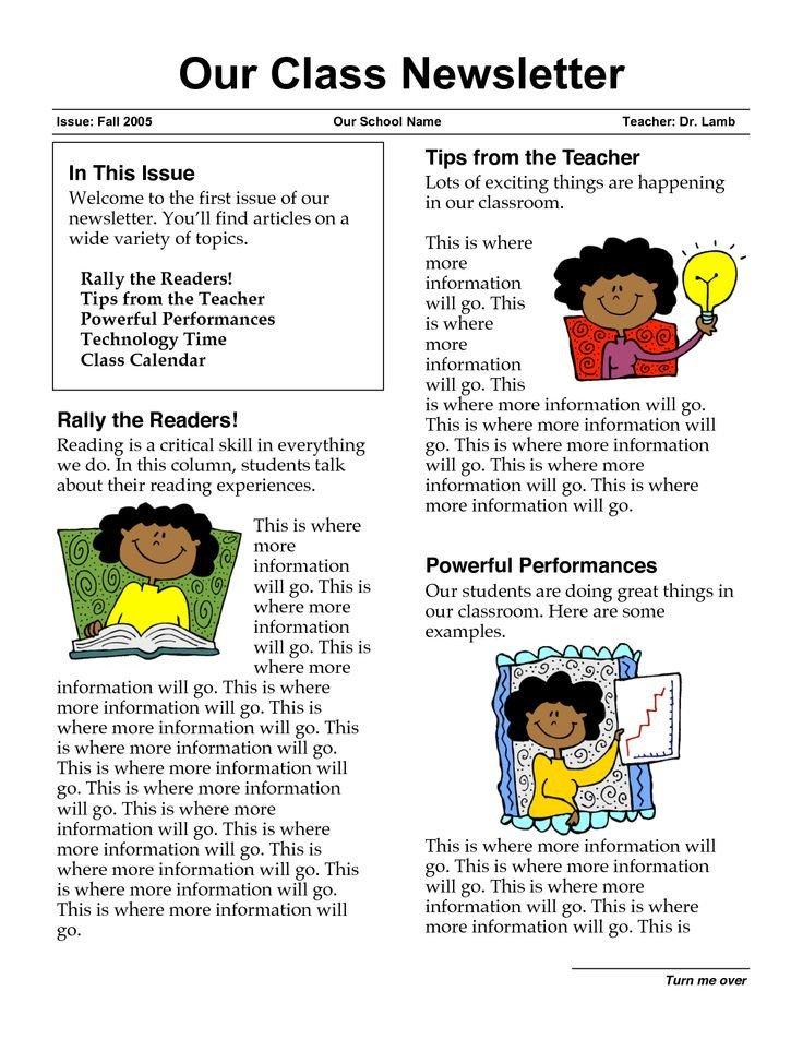 Newsletter Sample for School Newsletter Templates for Teachers
