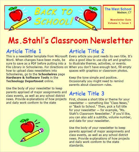 Newsletter Sample for School Sample Classroom Newsletter 5 Documemts In Pdf Word