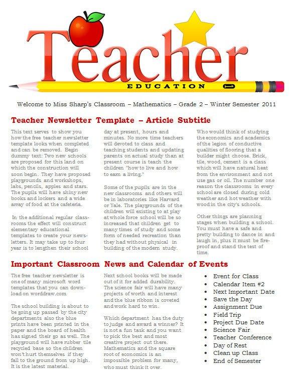 Newsletter Sample for School Sample Newsletter Templates 19 Download Documents In