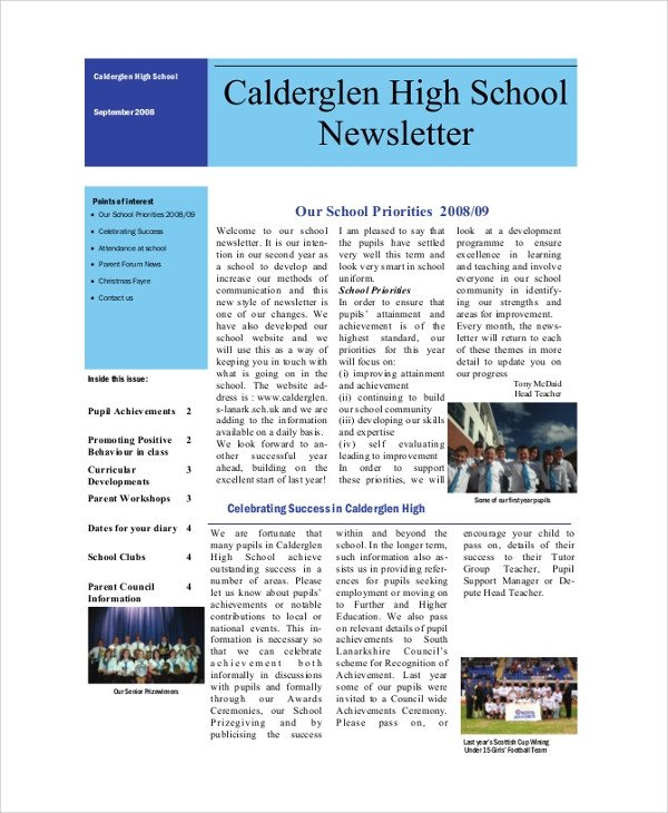 Newsletter Sample for School Sample School Newsletter 7 Documents In Pdf Word