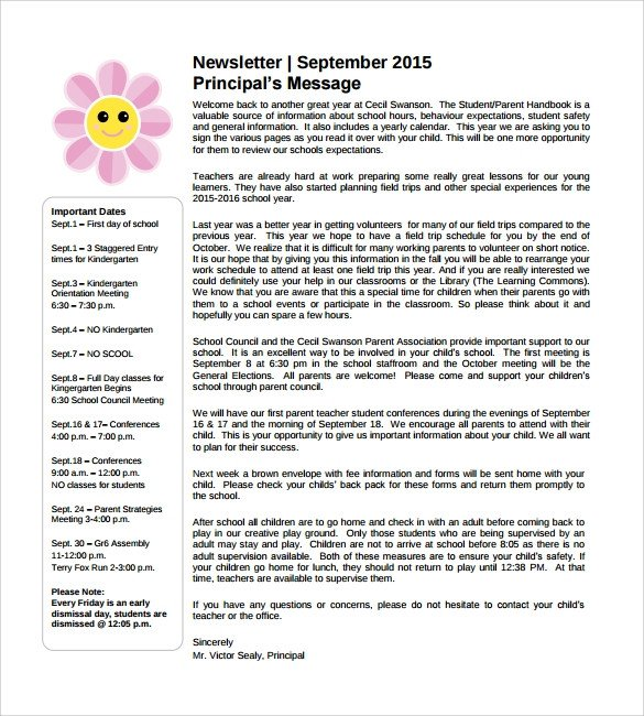 Newsletter Sample for School Sample School Newsletter Template 8 Download Documents