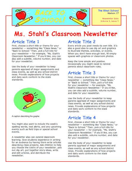Newsletter Sample for School School Newsletter 2 Col 2 Pp
