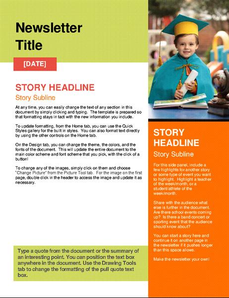 Newsletter Sample for School School Newsletter