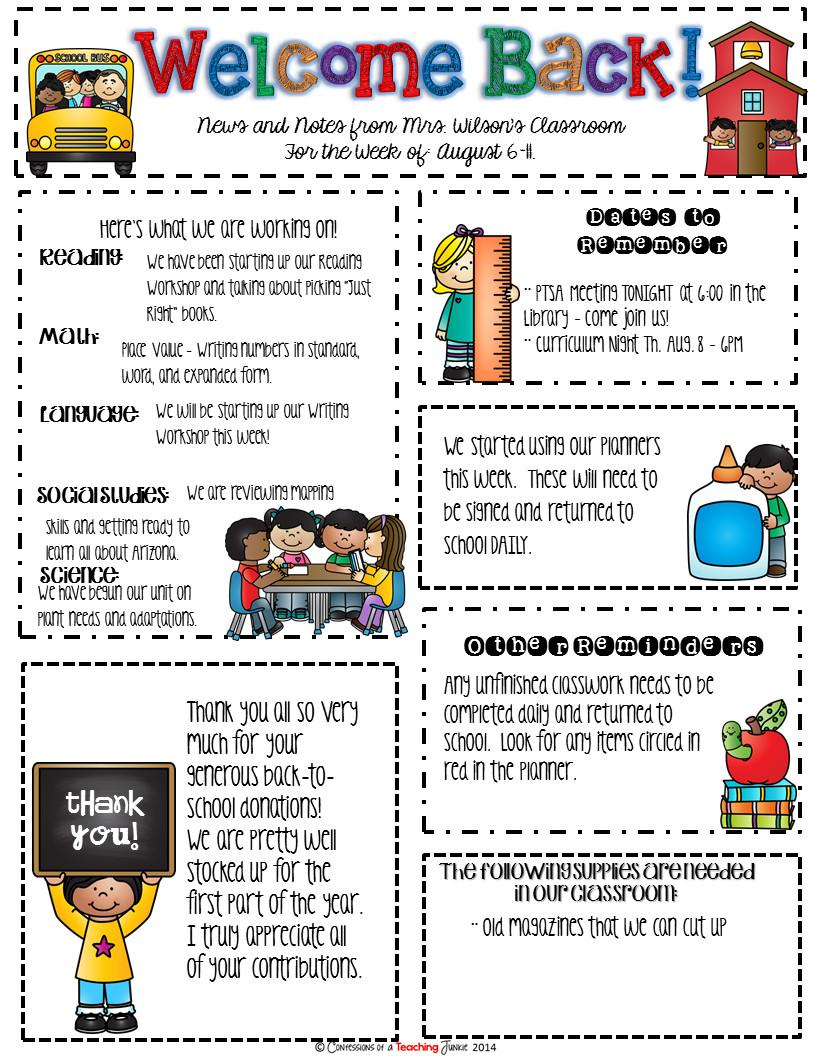 Newsletter Sample for School Seasonal Classroom Newsletter Templates for Busy Teachers