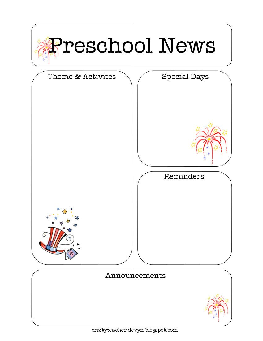 Newsletter Templates for Preschool July Preschool Newsletter Template