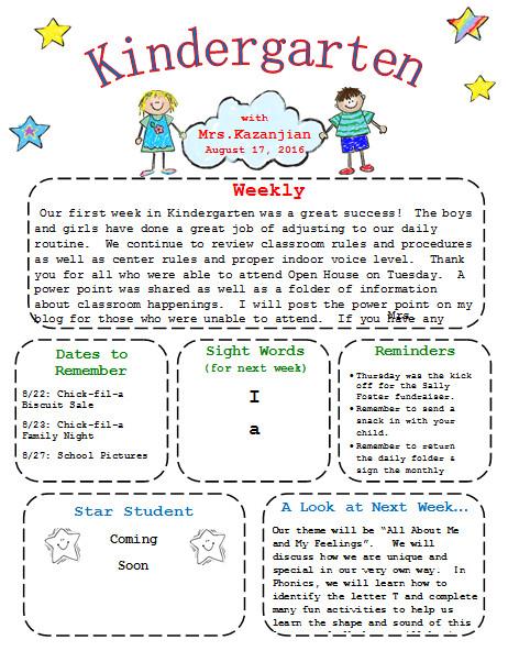 Newsletter Templates for Preschool Kindergarten Newsletter Template 3 Free Newsletters