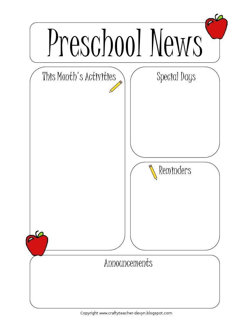 Newsletter Templates for Preschool Preschool Newsletter Template