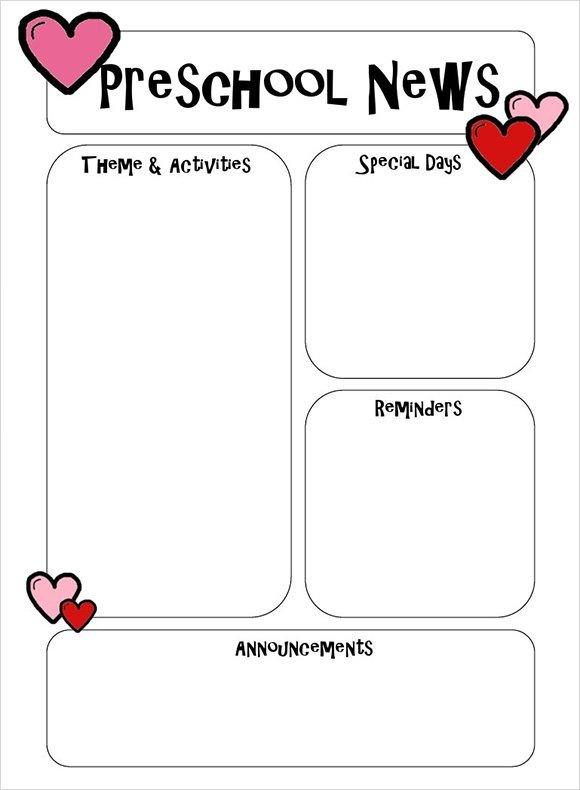 Newsletter Templates for Preschool Sample Preschool Newsletter 5 Free Download for Word Pdf