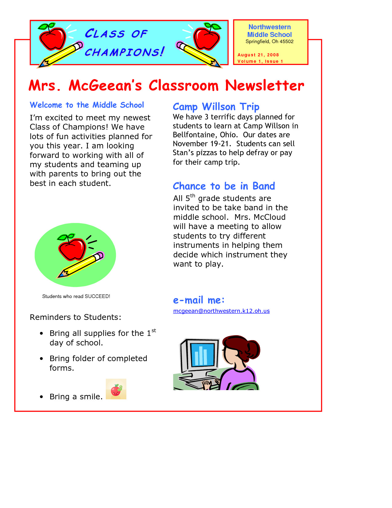 Newsletter Templates for Teachers Classroom Newsletter Template