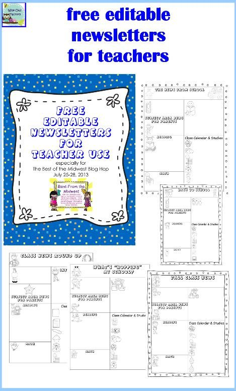 Newsletter Templates for Teachers Editable Newsletters for Teachers Five Templates Free Pdf