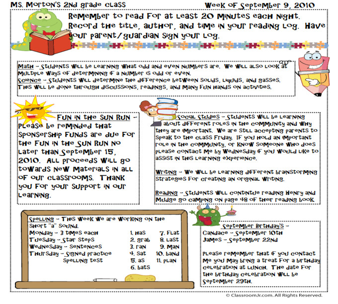 Newsletter Templates for Teachers Free Teacher Newsletter Templates Downloads