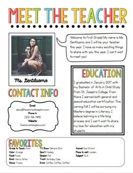 Newsletter Templates for Teachers Meet the Teacher Newsletter Template by Chalk and Gumption