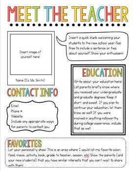 Newsletter Templates for Teachers Meet the Teacher Newsletter Template by the Pixie Dust