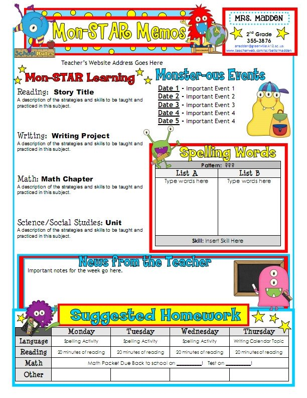 Newsletter Templates for Teachers Newsletter Templates for Teachers to Parents